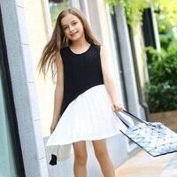 תפרים שחורים ולבן שמלת אפוד השרוולים של בנות RMBkids-מילה סדיר מכפלת שמלה עבור נוער של בנות בגילי 5-14 שנים