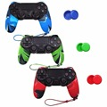 NEW Silicone Skin Protective Case Cover With Hand Rope For Sony PS4 Controller Set Camouflage Blue (Skin X 1 + Thumb Grip X 2)
