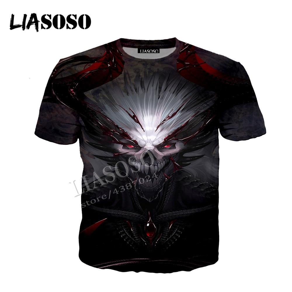 LIASOSO latest 3D printing comfortable polyester zipper hoodie Japanese anime horror Skull blood demon men women sportswear C379
