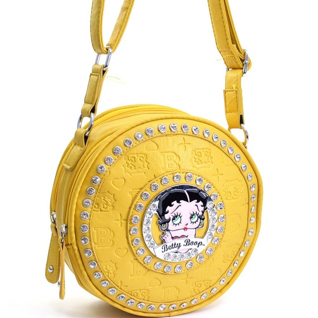 155b0999c75c Betty Boop Cylinder Women Messenger Bag With Embossed Print   Rhinestones  Cross Body Bags for Women with Studs