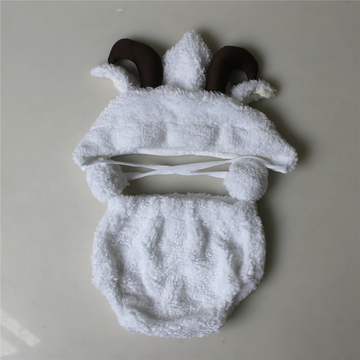 Image 4 - Fashion White Baby Girl Boy Photo Costumes Clothes Newborn Pictures Clothing Animal Sheep Goat Set Outfits    -
