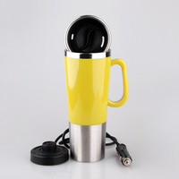 450ML Stainless Steel Vehicle Mounted Electric Heating Mug Drinkware Car Cigarette Lighter Ports Power Boil Water Coffee Egg Cup
