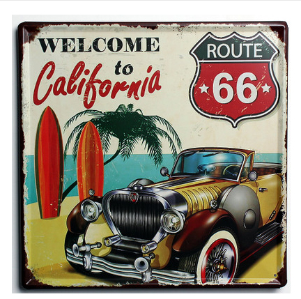 30X30CM Route 66 Welcome To California Vintage Home Decor Tin Sign For Wall  Decor Metal Sign