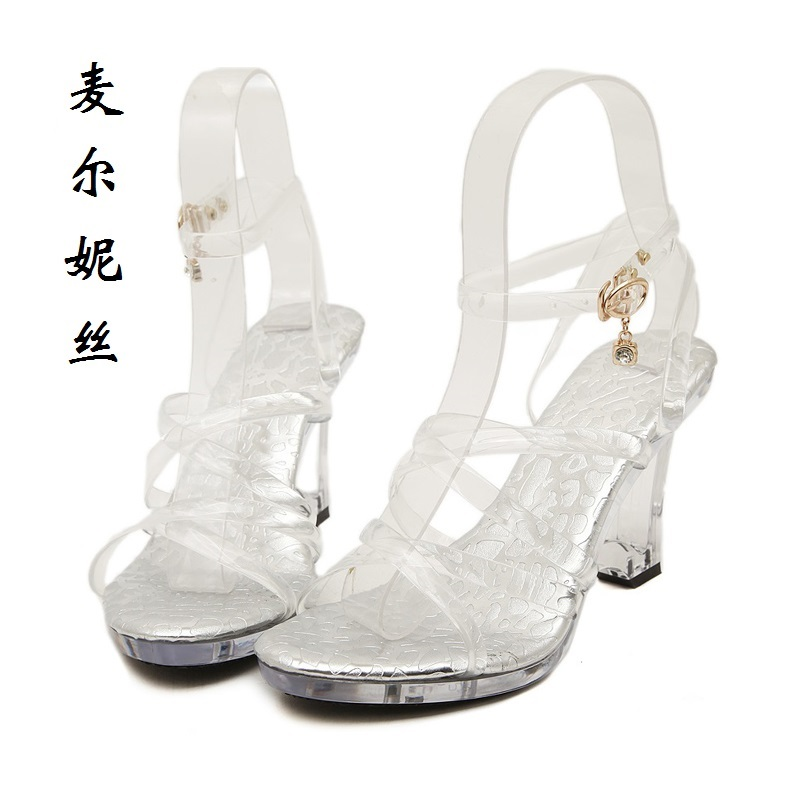 2017 Fashion Transparent Sexy Women Wedges Sandals High Heels Ladies Pumps Wedding Shoes Woman Summer Style Chaussure Femme