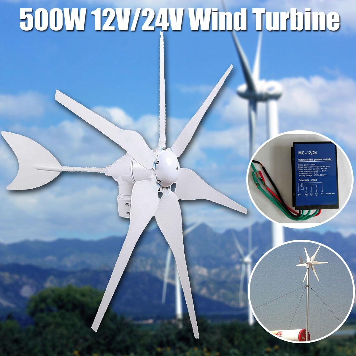 500 W 12 V/24 V Medio ambiente 6 cuchillas miniatura turbina de viento Mini turbina de viento generador de energía hogar residencial con controlador