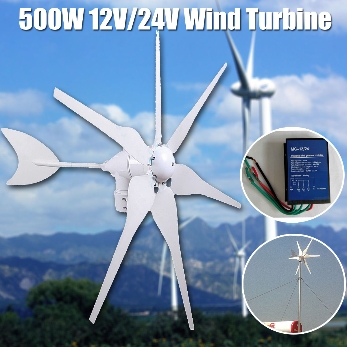 Wind Turbine Max 600w Dc 12v 24v Combine With English Diagram Also Power Generator Diagrams On 500w Environmental 6 Blades Miniature Mini Energy Residential