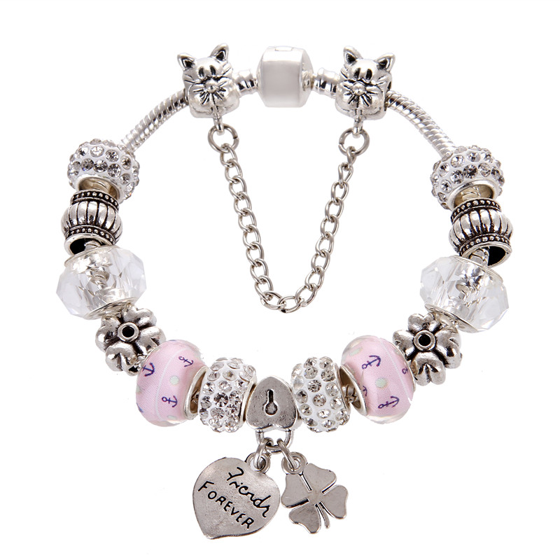 Silver plated White Crystal Beads Heart&Clover pendant Charm DIY Fashion Elegant Pandora Bracelet For Women/Gril gift jewelry