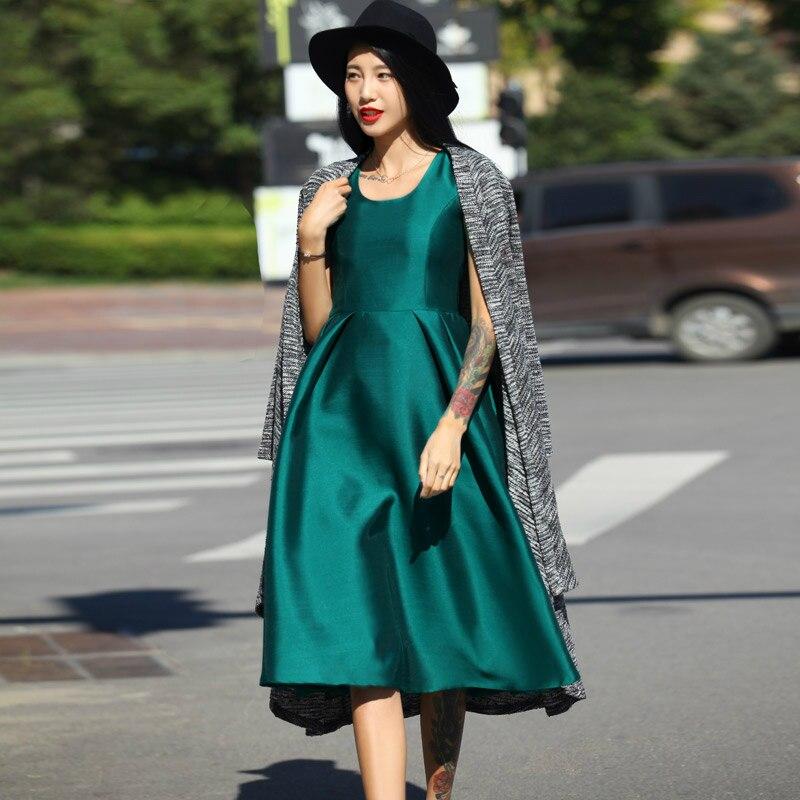 Rétro Soirée Mode De Automne Femmes Mignon Longue A ligne Réservoir Nouvelle Robe Satin Dames Sans Manches Robes TqUExawOq