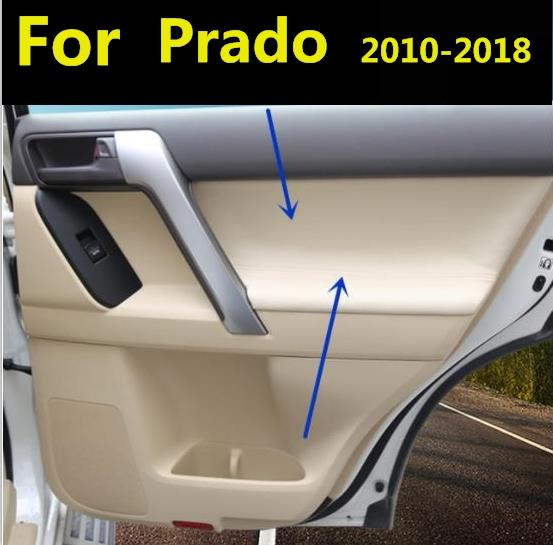 4PCS Microfiber Front  Rear Door Panel Armrest Leather Cover Protective Trim For Toyota Prado 2010-2018 with Mount Fittings