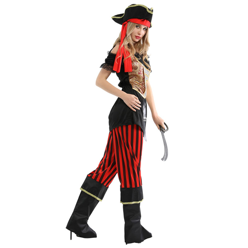 Lovely High Seas Pirates Princess Buccaneer Costume Cosplay for Women Halloween Carnival Mardi Gras Party Fancy Dress W 0262 in Holidays Costumes from Novelty Special Use