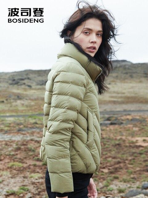 BOSIDENG 2018 новый зимний пуховик для женщин пуховое пальто струящийся воротник короткая куртка теплая мягкая высокое качество B80131024