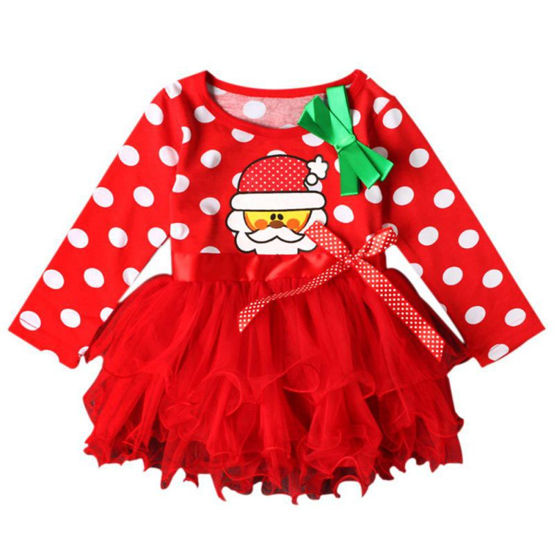 Fashion Christmas Infant Girl Lace Dress Baby Girls Bow Dot Clothes Newborn Cotton Santa Claus Print Clothes худи print bar panda santa