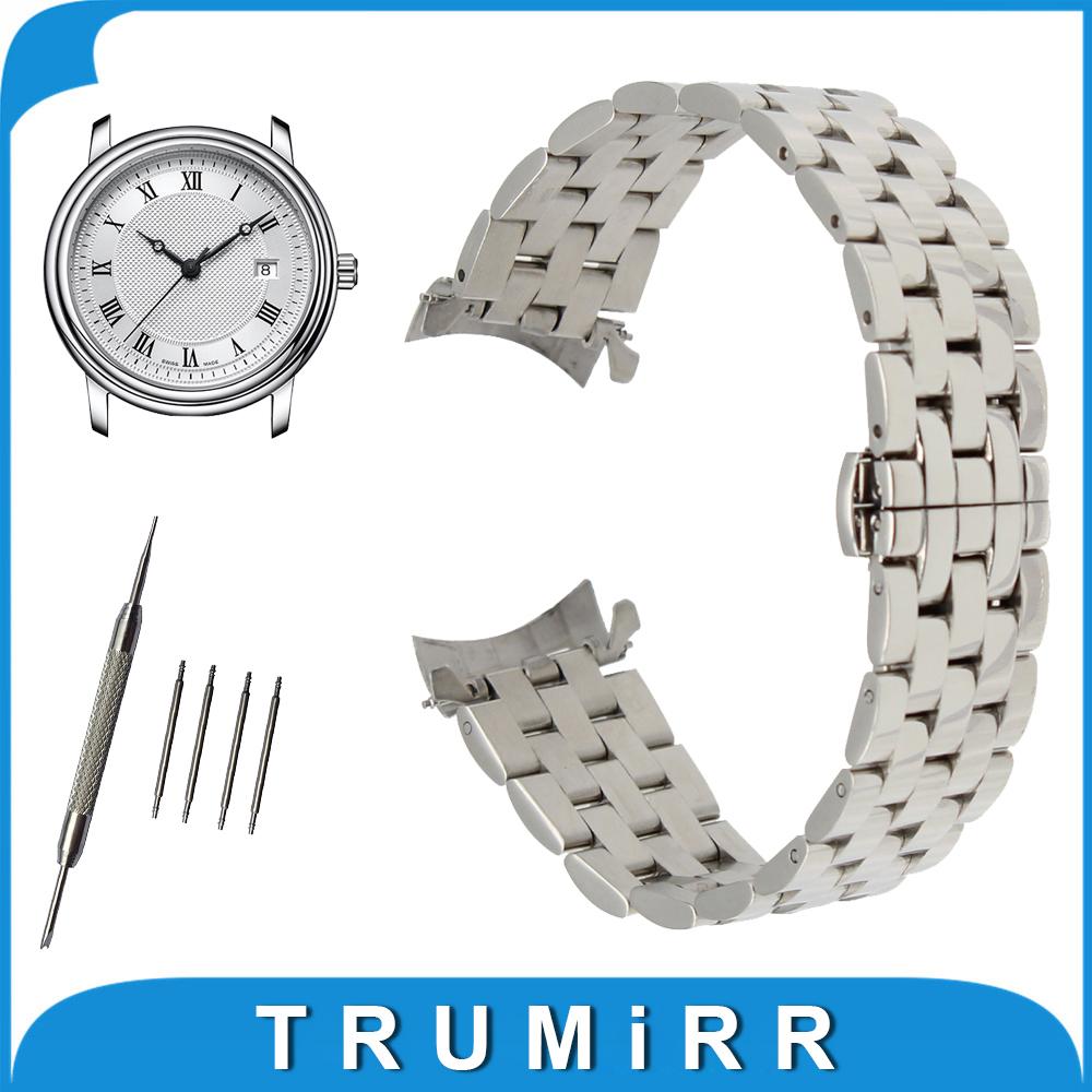 Prix pour 18mm 20mm 22mm 24mm Montre En Acier Inoxydable Band Curved End Bracelet pour Frédérique Constant Bracelet Butterfly boucle Bracelet