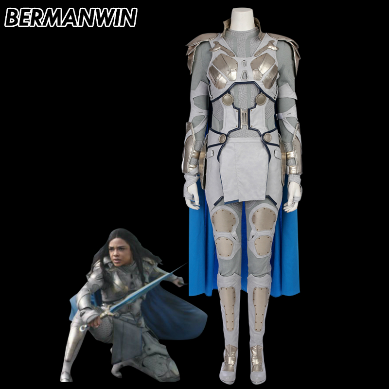 BERMANWIN High Quality Valkyrie Costume Adult Women Thor Ragnarok Halloween cosplay costume Valkyrie silver battle costume