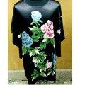 Venda quente Da Moda das Mulheres Chinesas Seda Rayon Roupão de Banho Vestido de Um Tamanho Da Flor Frete Grátis Xsz008