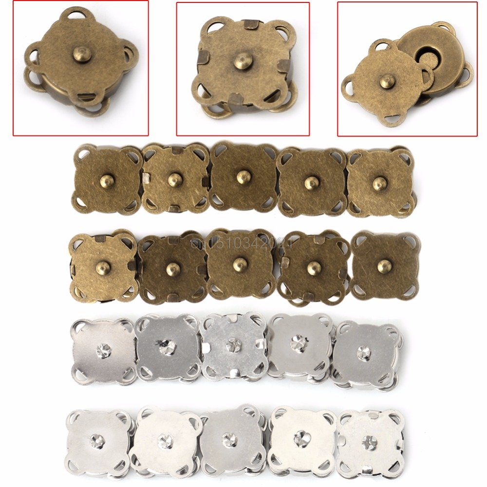 10PCS14/ 18mm DIY Magnetic Snaps Purse Clasp Closures Metal Button Bag Craft