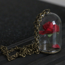 Beauty and the Beast Necklace Enchanted Rose in Terrarium Pe