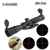 Sports 3 9x40BE Compact Rifle Scope Mil Dot Reticle Riflescope Sight Three Color Illuminated Sight Waterproof