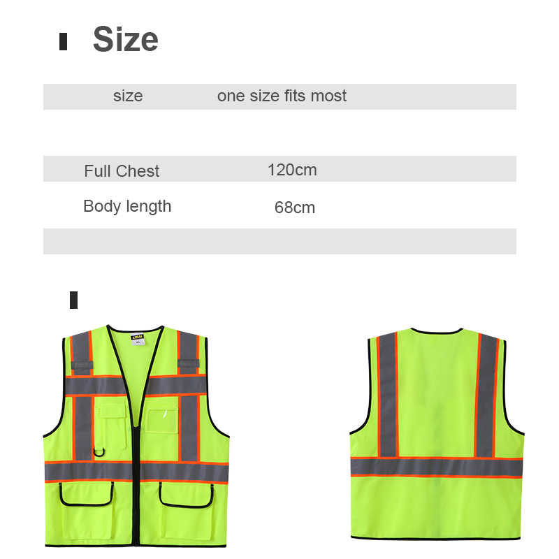 9d4c51e6d6e ... Chaleco reflectante amarillo de dos tonos con bolsillos ropa de trabajo  uniforme de seguridad ...