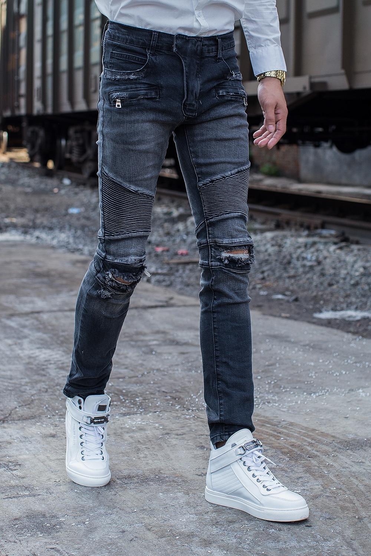 Free Shipping Men Biker Jeans Patchwork Slim Zipper Skinny Pencil Elastic Denim Jeans Ripped Motorcycle Straight