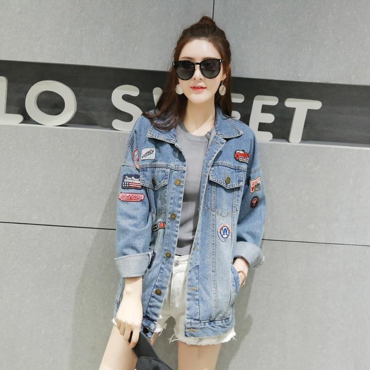 Womens Jackets Coats 2017 New Badge Patch Jeans Jackets Denim Women Long Sleeve Outerwear Coats ladies jacket Plus Size Z352