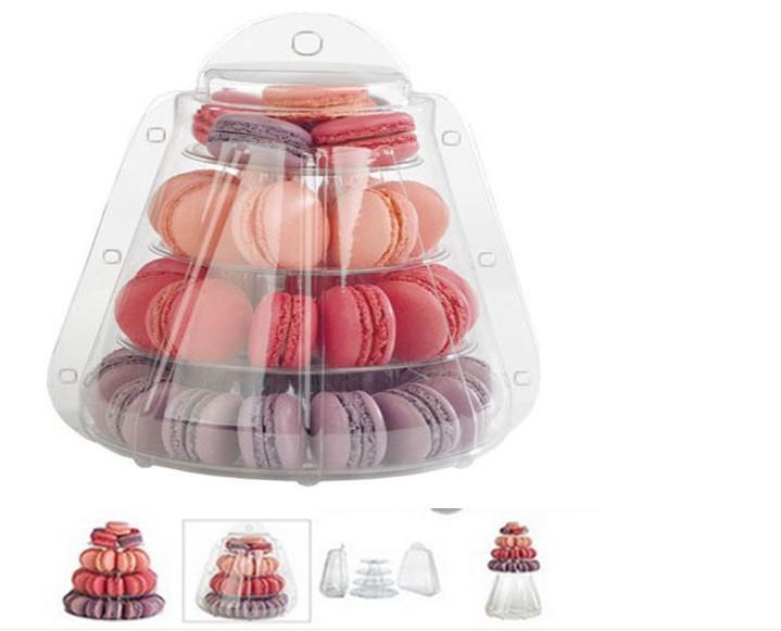 4 Tier PVC Macaron carry-out kutusu düğün macaron kutusu ile - Tatiller ve Partiler Için - Fotoğraf 1