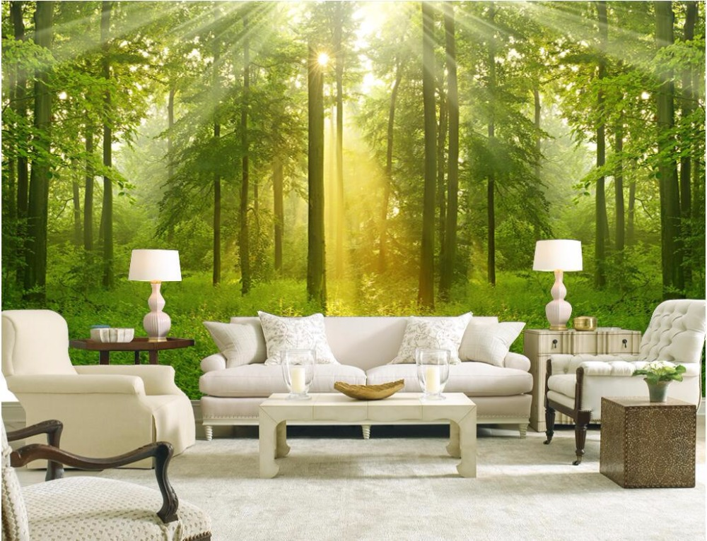 ᐊ d kamer behang custom mural foto groen bos home decoratie
