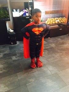 Image 3 - Erkek Deluxe kas Superman Cosplay cadılar bayramı kostüm çocuklar için çocuk noel kostümleri süslü elbise tulum pelerin anime