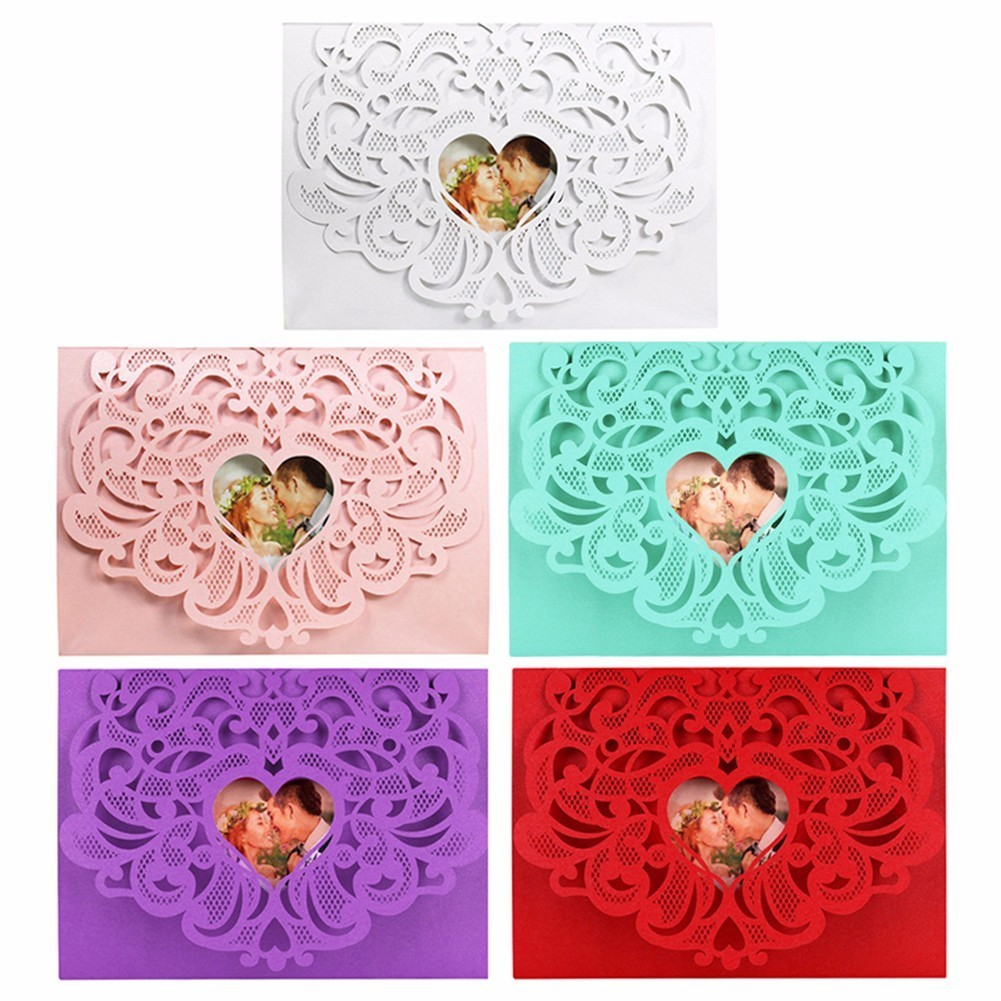 10Pcs/Lot Laser Cut Colorful Romantic Pattern Birthday Christmas Wedding Invitations Cards Kit Blank Paper Printing Invitation design laser cut lace flower bird gold wedding invitations kit paper blank convite casamento printing invitation card invite