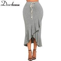 Dear Lovers Women Long Party Skirts Summer Elastic Waist Drawstring Ruffle Skirt Korean 2018 Solid Sexy