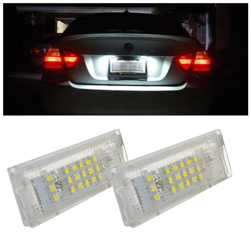 2pcs New White Car Error 18 LED License Number Plate Light Lamp For BMW E46 5 Door Touring 2x e marked obc error free 24 led white license number plate light lamp for bmw e81 e82 e90 e91 e92 e93 e60 e61 e39 x1 e84