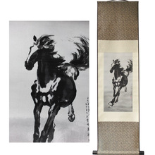 ShaoFu Personality Silk Scroll Painting Chinese Large Wall Decorative Paintings Famous Horse Riding Art Print Home Decoration