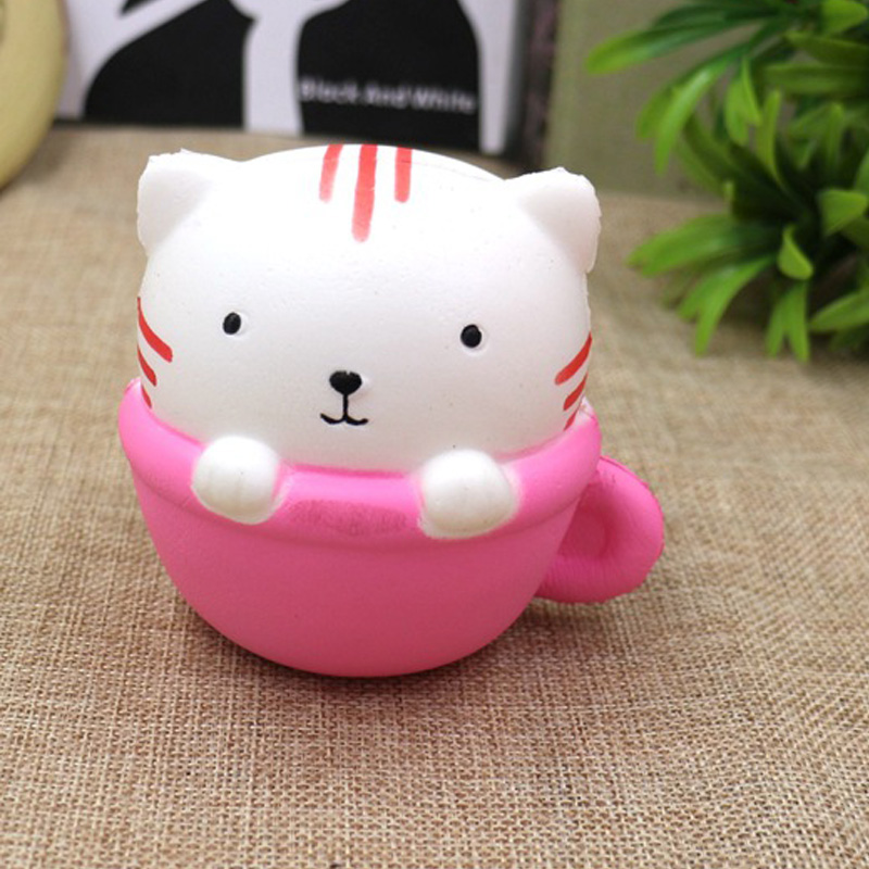 Cute Animals Squishy Cat Toys Pink Simulated Cat Cup Decorations Soft PU Squeeze Stress Kid Toys Fun Gag Gift Toy For Children