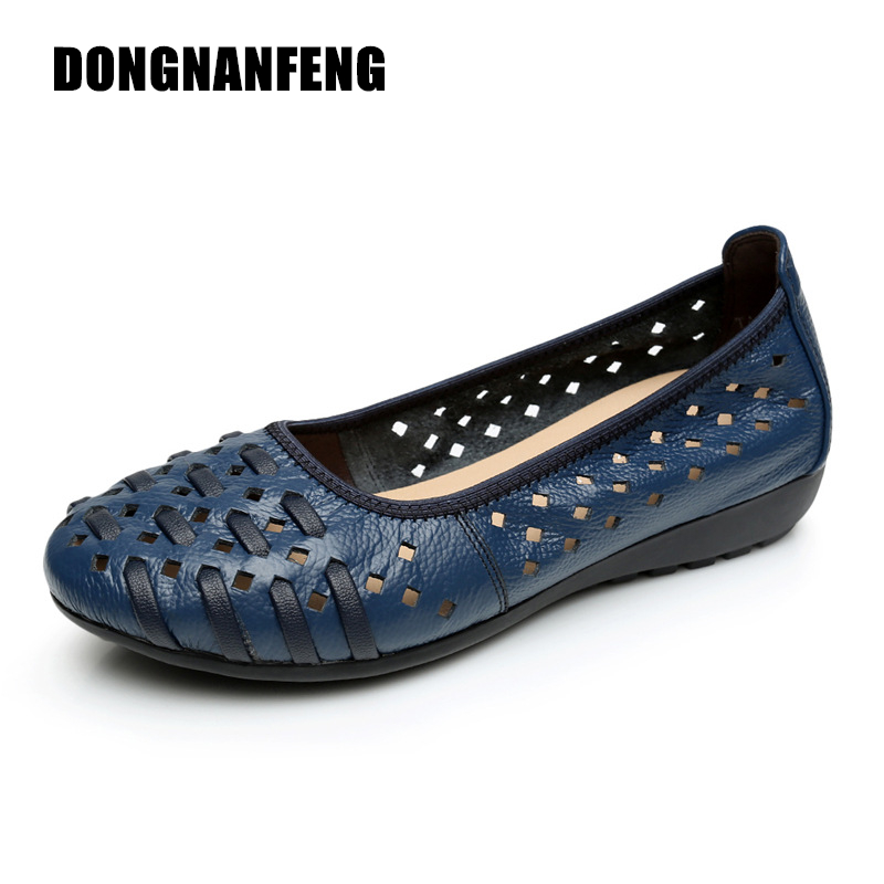 DONGNANFENG New Mother Women Shoes Old Flats Hollow Out Cow Genuine Leather Slip On Casual Vintage 5 Colors Size 34-43 HN-1627