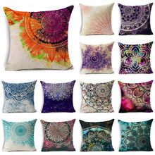 WZH Colorful Mandala Cushion Cover 45x45cm Linen Decorative Pillow Cover Sofa Bed Pillow Case(China)