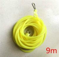 Alta qualidade 9 m sólido elástico de borracha corda banda-retenção perdeu pólo pólo linha de pesca diâmetro 4mm elástico corda amarrada corda de borracha