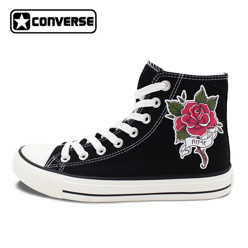 Tattoo Rose Converse All Star Shoes Flower Original High Top Canvas Sneakers Mens Womens Black Skateboarding Shoes original converse all star women sneakers flower color light popular summer canvas skateboarding shoes 552923c