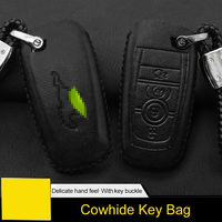 QHCP Genuine Leather Car Key Bag Case Cover Remote Smart Key Protection Car Styling Accessories Special For Ford Mustang 2018