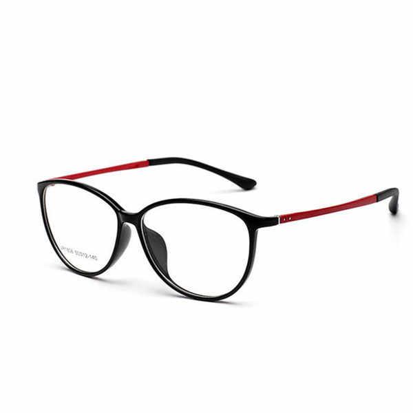 f606d02370 Mujeres Corea TR90 gato ojo gafas marco Vintage redondo grande óptico  miopía gafas Super light gafas