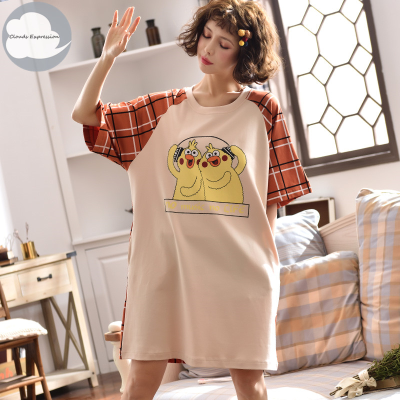Brand Summer 100% Cotton Cartoon Women's Sleepwear Girl   Nightgowns     Sleepshirts   Nightwear Nightdress Sleepwear Home Sleep Dress