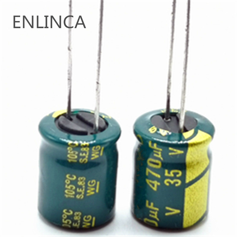 10pcs/lot P82 Low ESR/Impedance High Frequency 35v 470UF Aluminum Electrolytic Capacitor Size 8*12mm 470UF35V