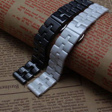 Top Grade Thinner Ceramic watchband bracelet 16mm white black watch band watch strap Butterfly Buckle wristband