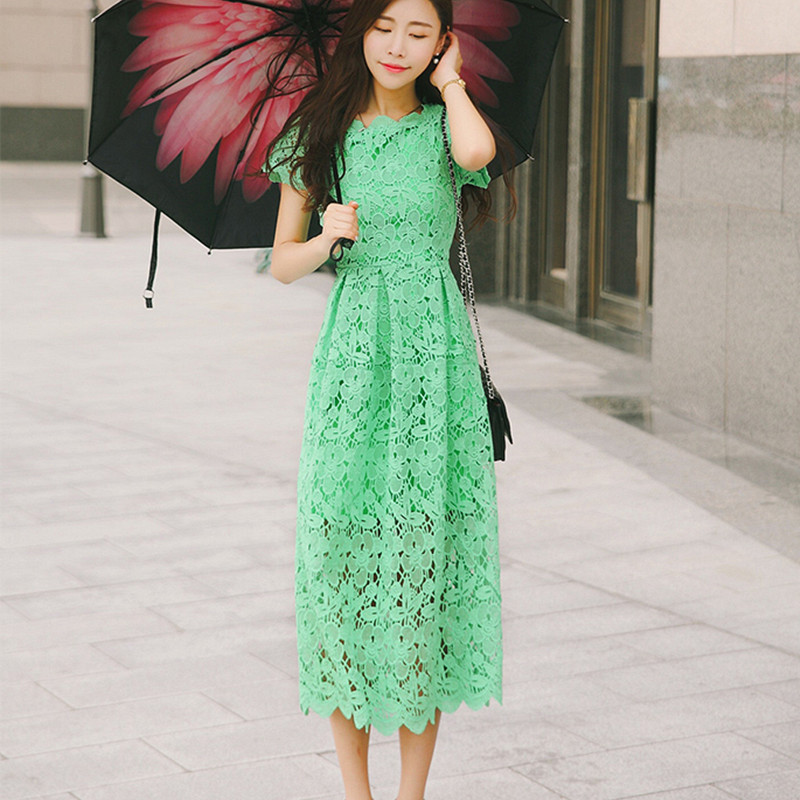 ea568def3ffa Women summer dresses 2016 summer style vintage short sleeve midi length  women long maxi lace dress green vestido de renda-in Dresses from Women s  Clothing ...