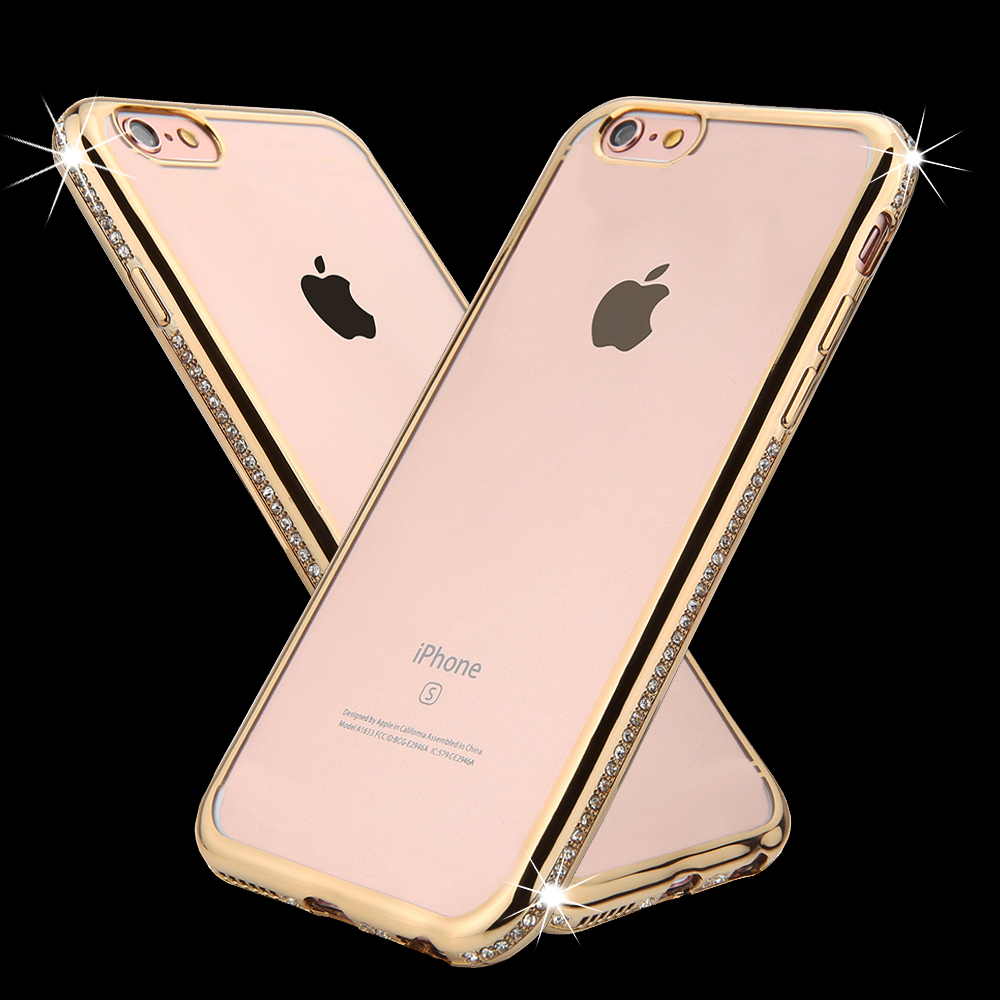 New Bling Diamond Crystal Rhinestone Frame Case For Iphone 6 6s Soft