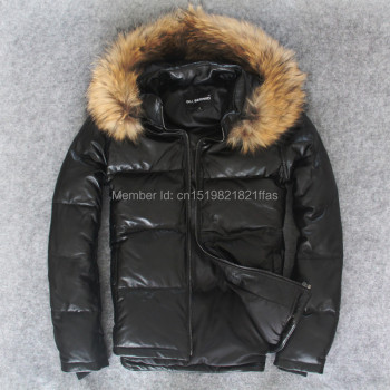 Factory Male sheepskin duck down coat short design stand collar winter thickening slim leather coat genuine leather jacket