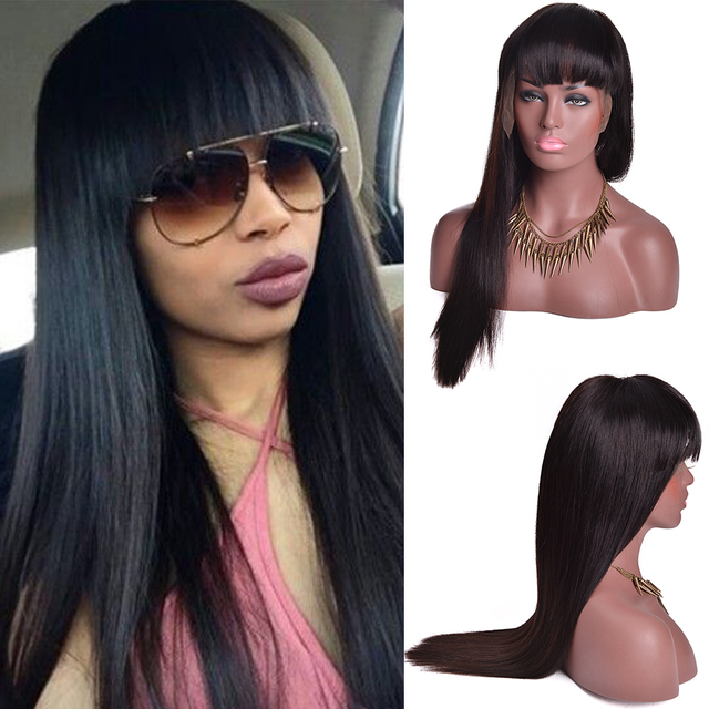 Alionly Full Lace Human Hair Wigs With Bangs Malaysian Straight Hair Lace Front Human Hair Wigs Full Lace Wigs For Black Women