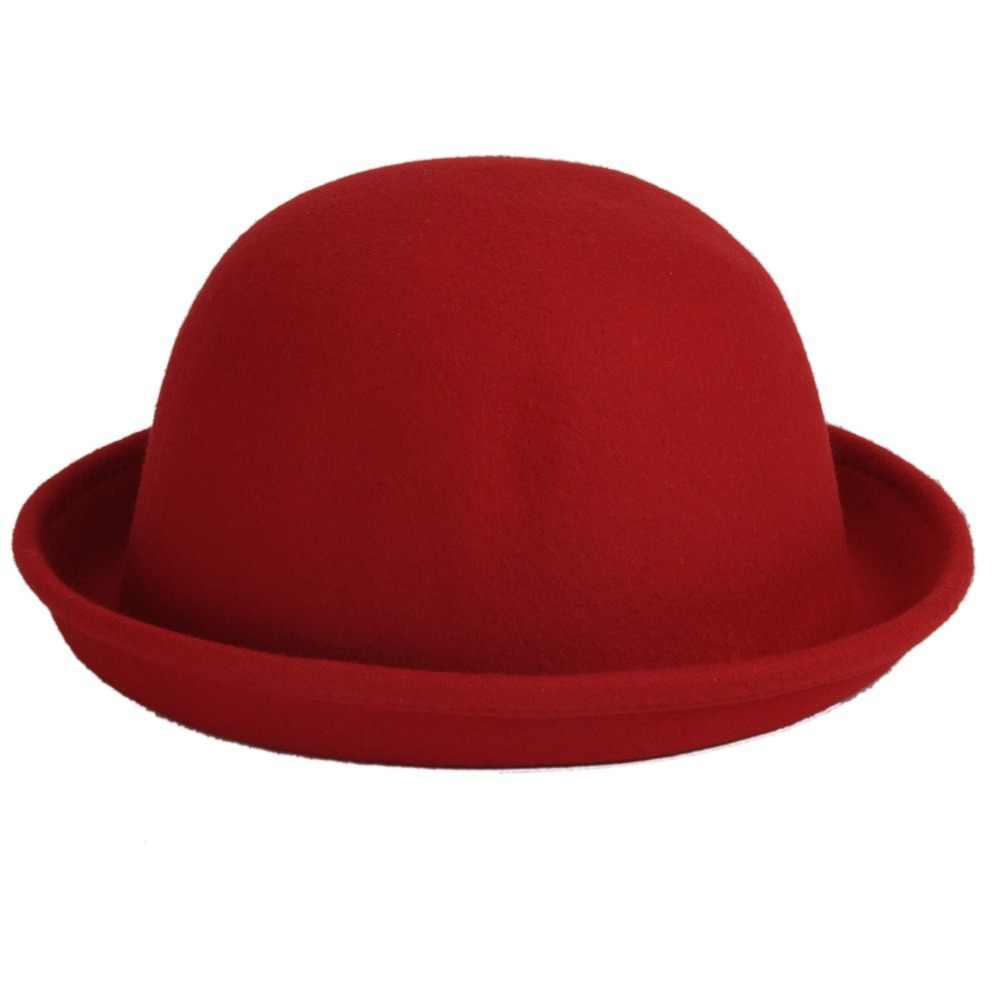 b8b4cdc3b6dda Women Solid Color Felt Bowler Derby Woolen Fedora Hat Lady Round Cap Multi-Color  Cap