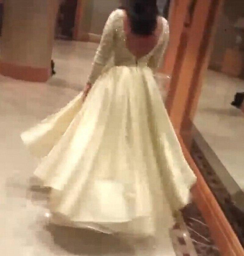 2018 lavande Abendkleider Formelle Arabe Longues Bas Dentelle Haut Lavande Backless Manches Parti Pleine Robes jaune Cristal Femmes Arabie Rose x0ZHAqZ