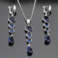 Dark Blue Sapphire Jewelry Sets 925 Sterling Silver Necklace Pendant Long Drop Earrings For Women Free