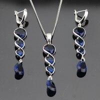 Dark Blue Sapphire Jewelry Sets 925 Sterling Silver Necklace Pendant Long Drop Earrings For Women Free